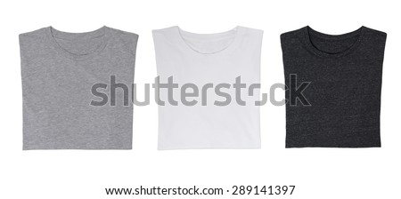 Close-up of the three t-shirts (black, white and grey). Isolated. #289141397