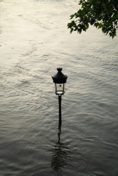 Close up of the top of an old iconic street lamp & tree leaves under a muddy water in the street, due to the swelling of Seine river, during the flood in spring in Paris, in sunset, France, Europe.
