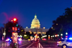 Close up of The United States Capitol Building with Blurred Background, Washington DC