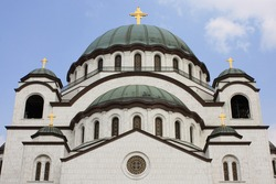 Close-up of the upper part of the facade of the Serbian Orthodox Church of Saint Sava in Belgrade, Serbia
