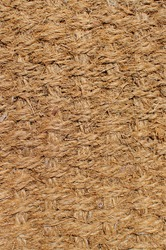 Close up of the weaves making up a door mat
