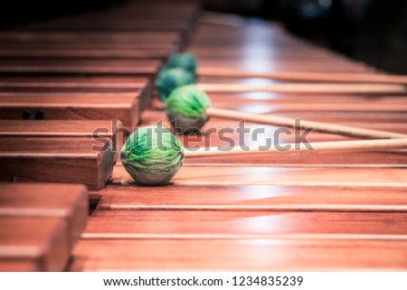 Close up of the wooden keyboard of a marimba instrument and four green hammers.