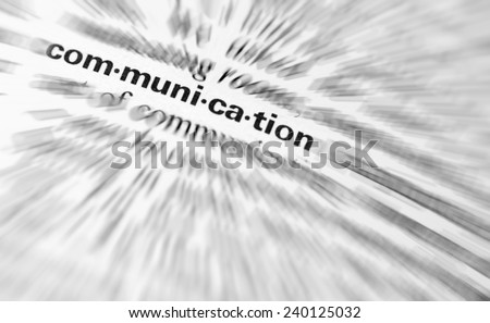 Close-up of  the  word Communication.