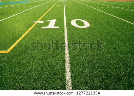 Close up of the 10 yard line on American football field