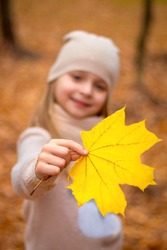 Close up of the yellow autumn maple leaf in the girl's hand. The concept of the autumn season and time to change the wardrobe from summer to warm and cozy knitted clothes. Family weekend outdoors