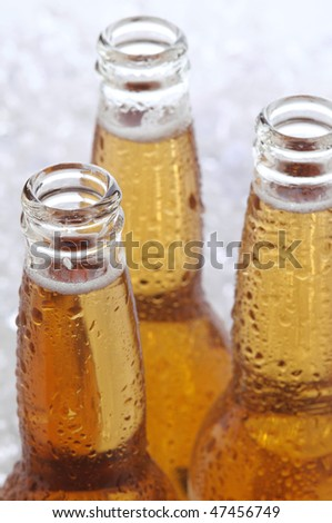 Close up of three cold longneck beer bottles with condensation standing on a bed of crushed ice. Shallow depth of field and vertical composition.