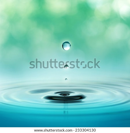 close up of three droplets in a blurred green background