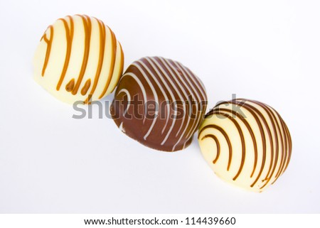 Close up of three kinds of Belgian chocolate pralines
