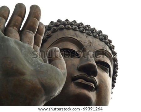 Close up of Tian Tan Buddha with details of hand - The worlds's tallest outdoor seated bronze Buddha located in Lantau Island, Hong Kong, China #69391264