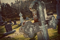 close up of tombstone in cemetery