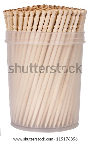 Close-up of toothpicks in a container