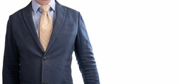 Close-up of torso man in suit and tie. torso of a Businessman in a suit. Cropped portrait of a successful businessman dressed in an elegant formal suit. Businessman In A Suit, Torso View. banner