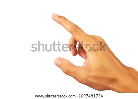 close up of touch of forefinger to press something isolated on white background