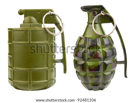 Close-up of toy grenade isolated on a white background