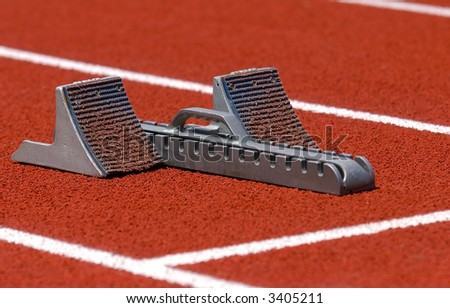 Close-up of track race starting blocks