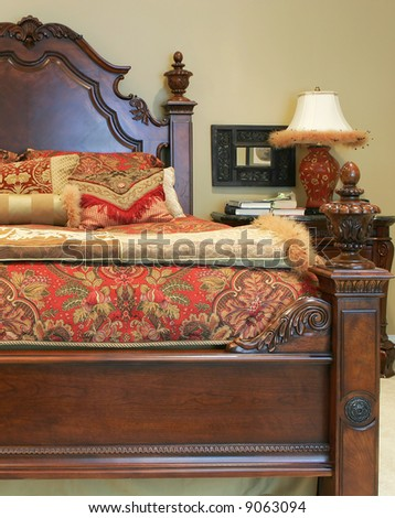 close up of traditional bed with linens
