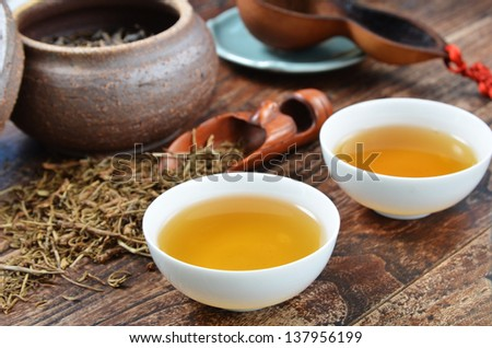 Close-up of traditional Chinese tea