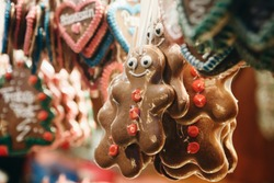 Close-up of traditional German cookies on Christmas market.