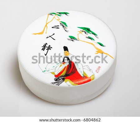 close-up of traditional japanese art box