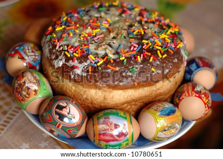 Close-up of traditional russian Easter cake - paskha - with easter eggs