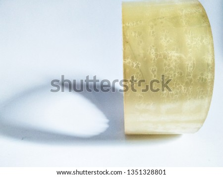 Close Up of Transparant Clear Insulation Roll or Isolasi Bening or Adhesive Tape Isolated with White Background #1351328801