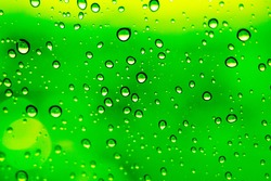 Close up of transparent water splashing on window in the morning against green as background