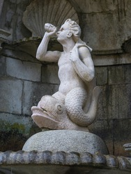 Close-up of Triton statue, Triton Fountain, Shrine of Our Lady of Remedies, Lamego, Viseu District, Northern Portugal, Portugal