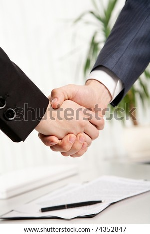 Close-up of two business people?s shaking hands