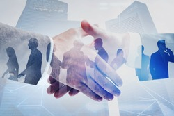Close up of two businessmen shaking hands in modern city with double exposure of business people and network interface. Concept of connection and partnership. Toned image