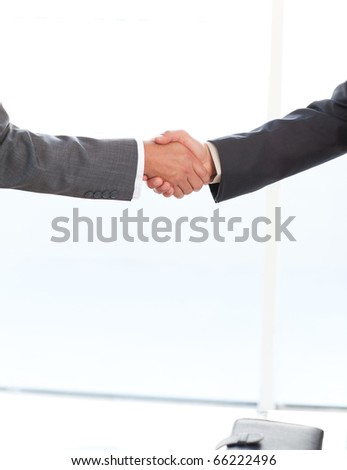 Close up of two businessmen shaking their hands standing in the office at work
