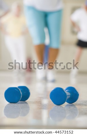 Close-up of two dumbbells