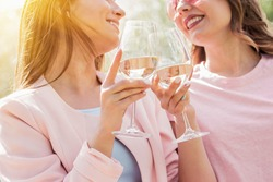 Close up of two happy women cheering with glasses of white wine and smiling while having picnic. Beautiful and stylish girls best friends drinking wine and laughing. Celebrating some event or birthday