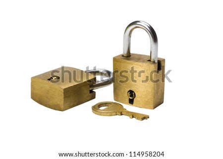 Close-up of two padlocks and a key