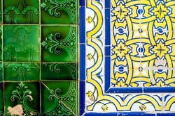 Close up of two types of typical Portuguese tiles, Olhao, Algarve