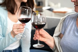 Close up of two women on celebratory toast at home