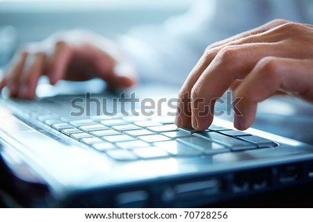 Close-up of typing male hands #70728256