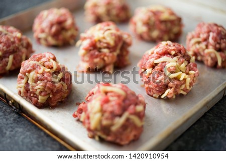 close up of uncooked meatballs
