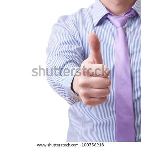 Close-up of unidentified man in shirt and tie showing thumb up isolated on white background