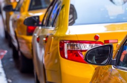 close up of unidentified yellow cab in Manhattan