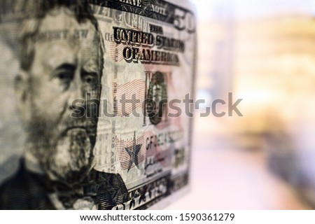 Close up of US fifty dollar bill