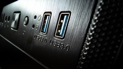 Close-up of USB 3.0 ports on personal computer's front panel.
