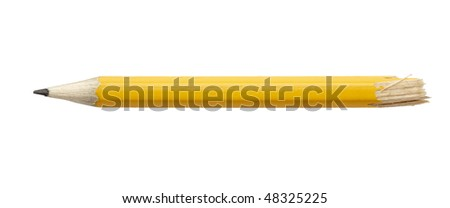 close up of used pencil on white background with clipping path