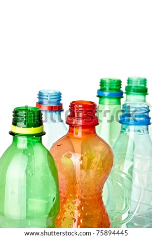 close up of  used plastic bottles on white background with clipping path