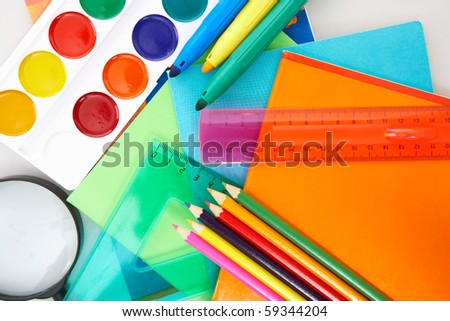 Close-up of various objects necessary in school education process