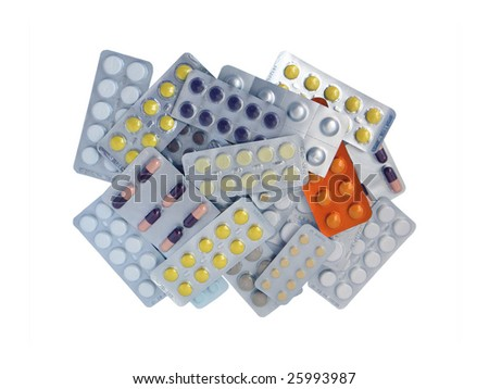 Close up of various prescription and over the counter drugs isolated on the white background.