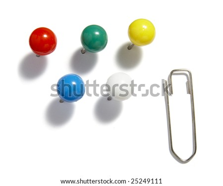 close up of various pushpins  on white background with clipping path