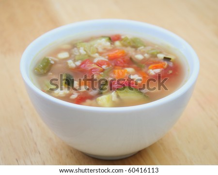Close Up of Vegetable Soup in a White Bowl