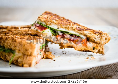 Close-up of vegetarian panini with tomatoes and mozzarella. Selective focus. Stok fotoğraf ©
