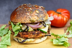 Close-Up Of Veggie Burger On Cutting Board