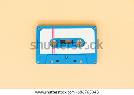 close up of vintage audio old tape cassette.